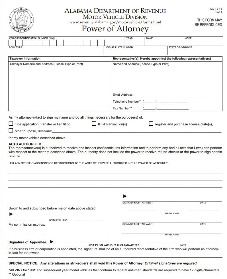 Alabama Motor Vehicle Power of Attorney Form