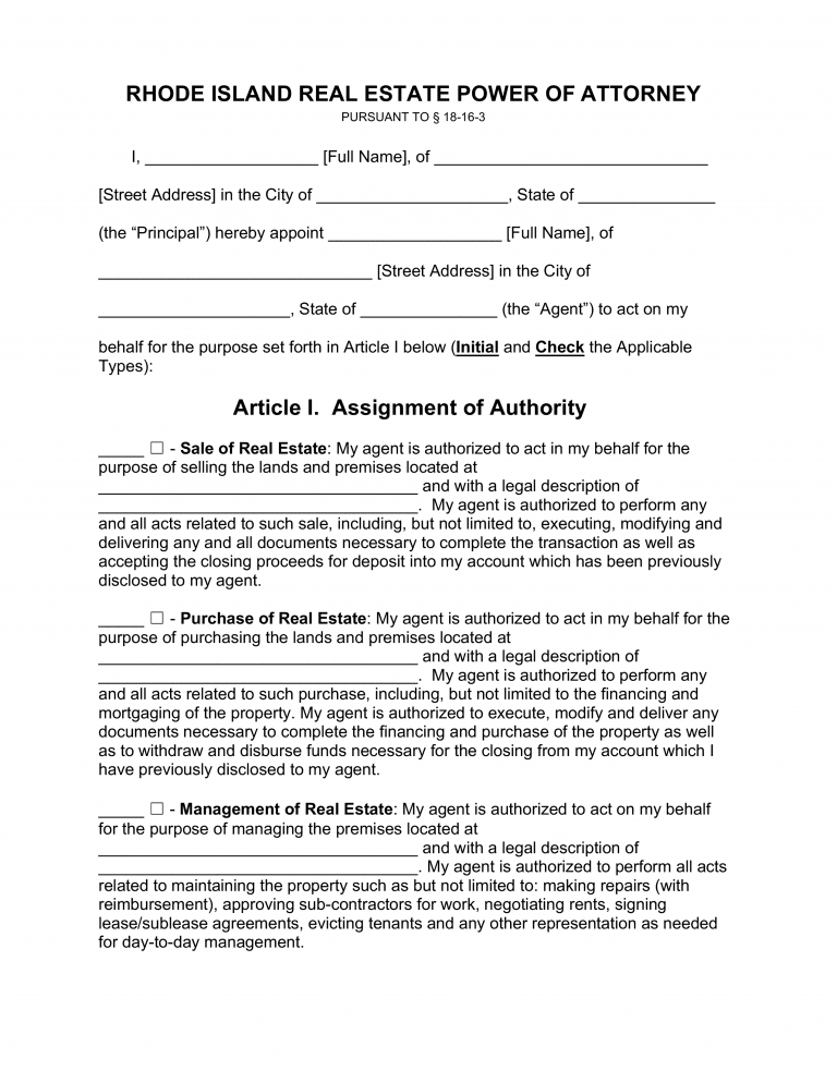 Rhode Island Real Estate Only Power-of-Attorney Form